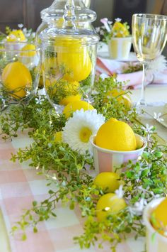 I had a lot of fun recently as I styled the table for a summer time ladies luncheon. I chose a pink and yellow colour scheme based on some. Yellow Tablecloth, Lemon Crafts, Lemon Kitchen, Table Setting Inspiration, Brunch Table, Pink Lemon, Table Arrangements, Decoration Table, Tablescapes