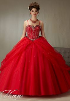 Quinceanera Dress 89071 Beaded  Boned Corset Bodice on a Tulle Ball Gown