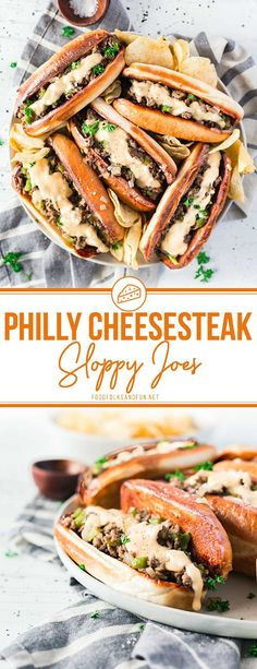 These Philly Cheesesteak Sloppy Joes are serious comfort food. 20 minutes is all you need to make this easy comfort food recipe! Lunch Recipes, Easy Dinner Recipes, Easy Meals, Dinner Ideas, Wrap Recipes, Meal Ideas, Delicious Recipes, Food Ideas, Yummy Food
