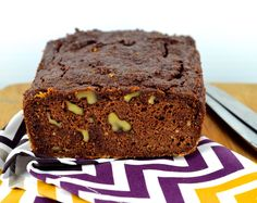 chocolate zucchini bread with herbal tea for breakfast on P3