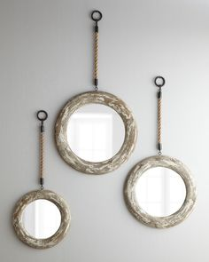 Three Hanging Mirrors with Rope Accents - Horchow