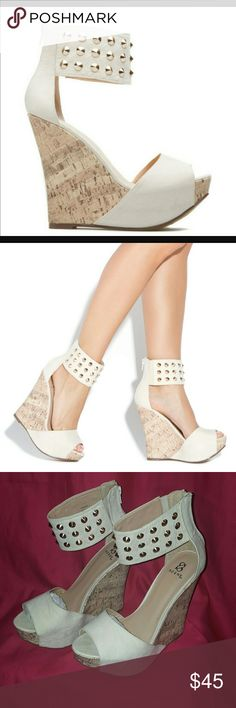 Studded ankle wedge hill!! Style Pinar in beige on shoedazzle! Cork Wedge heel Shoe Dazzle Shoes Wedges