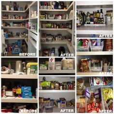 This pantry has a lot of space, but things were getting lost in the deep shelves. We added bins and labels and put often used items on easily accessed shelves and drawers. Less clutter and more function for the whole family.