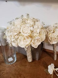 Items similar to Bride Bouquet Silk Wedding Flowers Burgundy Wine Ivory Roses Champagne bridal Bouquet Winter wedding Accessories on Etsy Gold Wedding Bouquets, Gold Bouquet, Bride Bouquets, Flower Bouquet Wedding, Wedding Nails, Wedding Dresses, Sola Flowers, Bridal Flowers, Wedding Flower Alternatives
