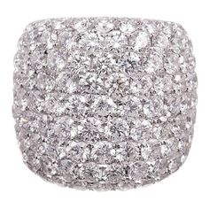 10.66 Carat Extra-Wide Diamond Platinum Band Ring | From a unique collection of vintage engagement rings at https://www.1stdibs.com/jewelry/rings/engagement-rings/