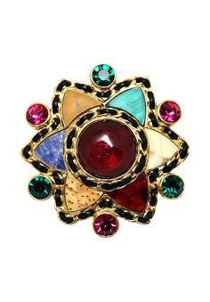 Vintage luxurious Chanel brooch in gilded metal adorned with the brand's trademark leather and gilded metal basketwork, multi-coloured crystals and Gripoix cabochon.