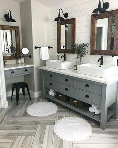 62 Easy Farmhouse Bathroom renovation designs for your bath – Farmhouse Room Budget Bathroom, Bathroom Renovations, Small Bathroom, Bathroom Ideas, Bathroom Grey, Master Bathrooms, Grey Bathroom Cabinets, Minimal Bathroom, Shared Bathroom