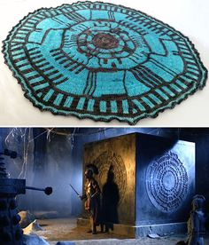 Free Knitting Pattern for Doctor Who Pandorica Shawl - This shawl is inspired by Doctor Who's companion Rory Williams andhis role as the Last Centurion, Amy's protector during her 2,000 year confinement to the Pandorica. This shawlette is an interpretation of the Pandorica itself, with its strong geometric patterning and also the shape of centurion shield.Fingering weight yarn. Designed by Awilda B. Designs