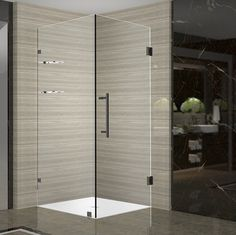 Aston Aquadica GS 30 in. x 30 in. x 72 in. Frameless Square Shower Enclosure with Shelves in Oil Rubbed - The Home Depot Square Shower Enclosures, Steam Shower Enclosure, Frameless Shower Enclosures, Frameless Shower Doors, Bathtub Doors, Bathtub Shower, Home Depot, Neo Angle Shower, Pivot Doors