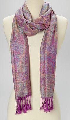 Purple Paisley Cashmere-Silk Blend Shawl