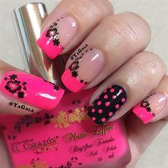 Pink. Blk Nail Art ❤