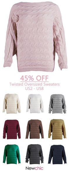 Twisted Bat-wing Sleeve Loose Sweater is on sale at reasonable prices 7d327cb5b
