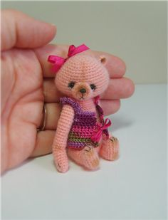Miniature Crochet THREAD ARTist DreSSed TeDDy Bear Pattern PDF Please meet my new bear KanDee... a 3 inch small crochet thread artist bear.  This