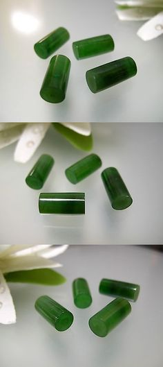 Other Jade 10231: Vintage Natural Chinese Green Jade Shorter Cylinder Tube 6X11.9Mm /1, 2 Or 5 Pcs BUY IT NOW ONLY: $83.99