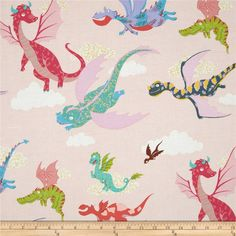 Monkey's Bizness The Dragons Pink from @fabricdotcom  Designed by DeLeon Design Group for Alexander Henry, this cotton print is perfect for quilting, apparel and home decor accents. Colors include purple, teal, yellow, shades of blue, and shades of pink.