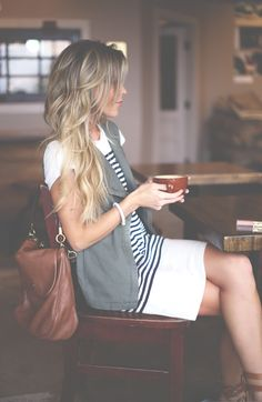 hair colors, date outfits, long hair, dress with black vest, the dress, beauti, coffee date outfit, bags, stripe