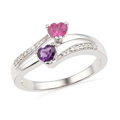 Heart-Shaped Amethyst, Lab-Created Pink Sapphire and Diamond Accent Ring in Sterling Silver