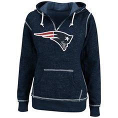 New England Patriots Navy Women's O.T. TD II Marled Hooded Sweatshirt