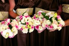 Phalenopsis Orchids and deep pink Rose combination bouquet.