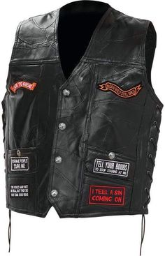 diamond plate rock design genuine buffalo leather concealed carry biker vest with 16 patches - 3x