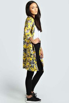 Holly Floral Print Longline Duster Coat at boohoo.com