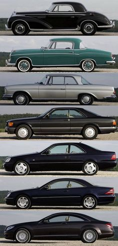 Mercedes S class coupe evolution. First of the black ones is from the 80's