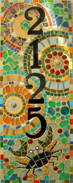 House Numbers with mosaic background Mosaic Garden, Mosaic Art, Mosaic Glass, Mosaic Tiles, Stained Glass, Glass Art, Cement Tiles, Tiling, Wall Tiles