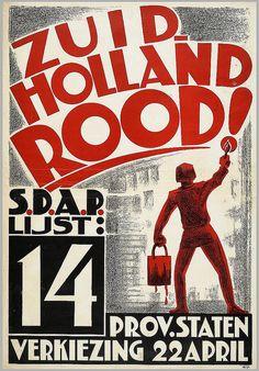 holland poster design 1932 black white red