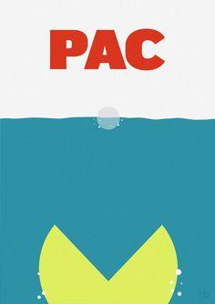 PAC. El mítico cartel de Tiburón recreado con Pacman.
