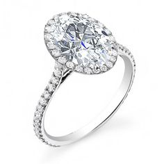 Always be on her mind when you purchase this luxurious halo, u-prong, pave natural diamonds engagement ring. This ring features a delicate center stone that is surrounded with luminous round side stones that appropriately travels down the shank making for a splendid finish and design. This well designed ring will really look amazing on your bride-to-be's finger and it will be a gift that she never forgets. Customize this ring and make it truly come from your heart with the help of Diamond…