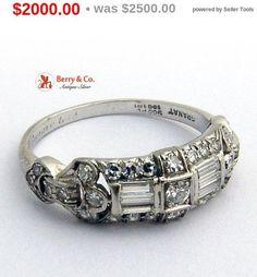 SaLe sALe Art Deco Diamond Platinum Ring Granat Brothers