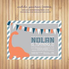 Adorable boys dinosaur birthday invitiation by Ashla Gaitan Design