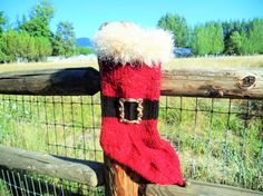 Santa's Belly Laugh Red Mohair Christmas by JingleBellSocks