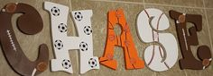 Sports room for a little boy. Like us on Facebook @cynscustomcrafts