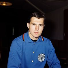 Franz Beckenbauer poses for the World Cup photocall, England, 1966.