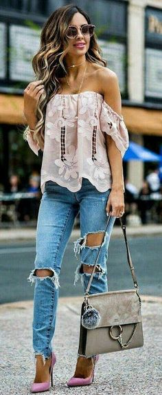 Off shoulder top with rough denim jeans - street style