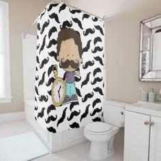 #Mustache Boy Shower Curtain - #Bathroom #Accessories #home #living