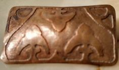 antique art nouveau copper acid etched brooch pin