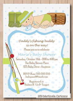 Fishing invitation for baby shower or first birthday green blue fishing invitation for baby shower or first birthday green blue cute baby with filmwisefo