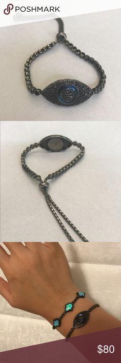.925 silver, black rhodium, evil eye bracelet .925 silver, black rhodium, evil eye bracelet, adjustable, blue Murano glass, black cubic zirconia diamonds Casa Di Bling Jewelry Bracelets