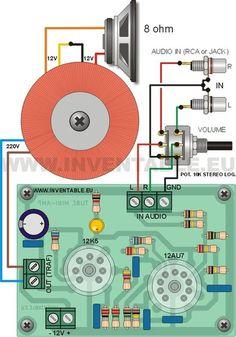 Diagrama de conexiones del amplificador con entrada estéreo. Electronics Projects, Electronic Circuit Projects, Diy Electronics, Electronic Kits, Basic Electrical Wiring, Speaker Plans, Valve Amplifier, Speaker Box Design, Circuit Diagram