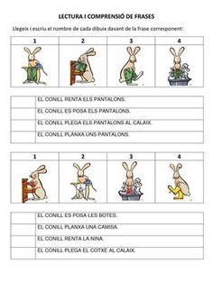 Title: COMPRENSIÓ DE FRASES I CONCEPTES, Author: Length: 4 pages, Published: Teaching Spanish, Teaching English, Kindergarten Math, Preschool, Catalan Language, Lectures, Baby Play, First Grade, Literacy