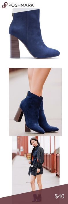 NWT Size 10 Elvia Navy Faux Suede Booties NWT Elvia Navy Faux Suede Booties. Fit TTS. Heel measures approximately 3.75 in. Features gold hardware. Only available in size 10. Shoe Dazzle Shoes Ankle Boots & Booties