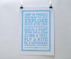 Be a superhero - Pen drawn poster - Nursery Decor. £10.00, via Etsy.