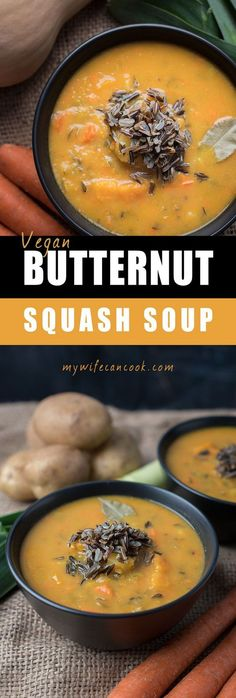 Vegan Butternut Squash Soup! We just love butternut squash and are constantly creating new butternut squash recipes and this vegan butternut squash soup is one of our new favorites. It's such a color soup and the perfect fall soup. It uses coconut milk an