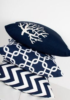 Navy Blue Pillow Cover inch Coral Decor Ocean by LilyPillow Nautical Bedroom, Nautical Home, Bedroom Decor, Nautical Pillows, Nautical Office, Blue Bedroom, Master Bedroom, Attic Renovation, Attic Remodel
