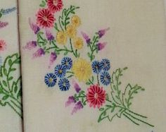 Vintage Linen Two Tea Towels - Embroidery Spring Bouquet of Flowers