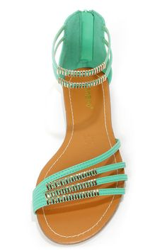 All hail the Bamboo Haile 01 Seafoam and Gold Strappy Gladiator Sandals! Flat sandals with golden charms along angled skinny straps. Dressy Sandals, Flat Sandals, Flip Flop Sandals, Gladiator Sandals, Flip Flops, Dressy Dresses, Sea Foam, Ankle Straps, Spring Summer Fashion