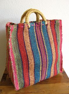 Colorful Stripes Woven Tote by MarketHome on Etsy, $24.00