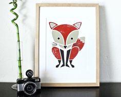 Red fox screenprint: so sweet!